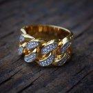 Lab Simulated Diamond 18k Gold Cuban Link Ring
