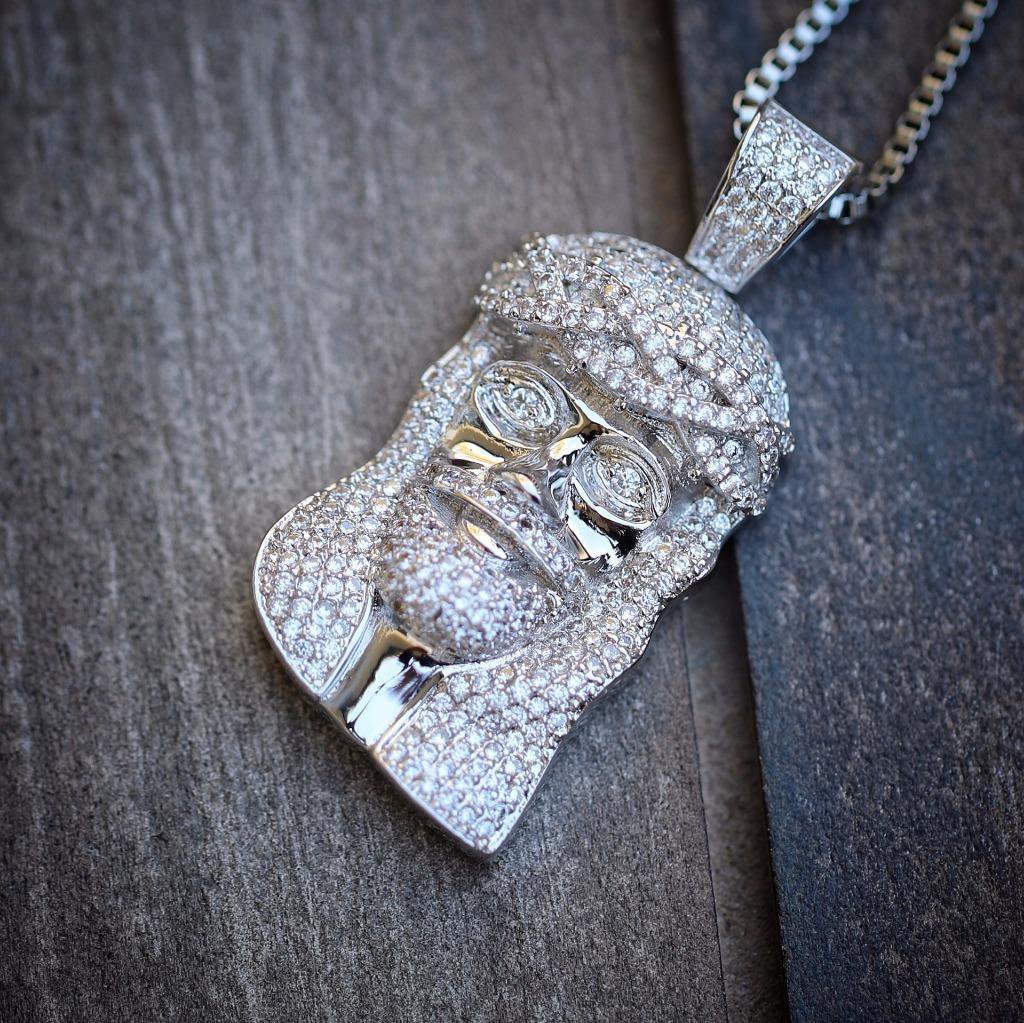 Men's Silver Mini Small Size Jesus Piece Charm Necklace Set