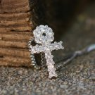 Mens's Hip Hop Mini White Gold  Ankh Cross Necklace