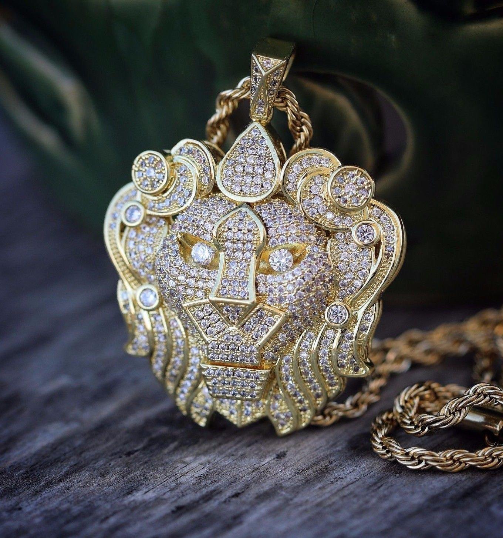 Men's Hip Hop Gold Lion Pendant Iced Out Necklace