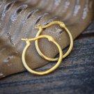 14k Gold Plated 925 Sterling Silver Men's Hoop Earrings