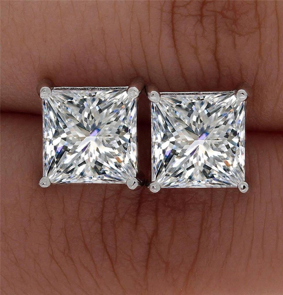 Square Princess Cut Solitaire Simulated Lab Diamond Stud Earrings