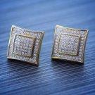 Men's Hip Hop Solid 14k Gold Large Square Screw Back Earrings Size 15mm
