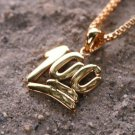 "Mini Micro Gold Plated 100  Charm Pendant with 22"" Box Chain"