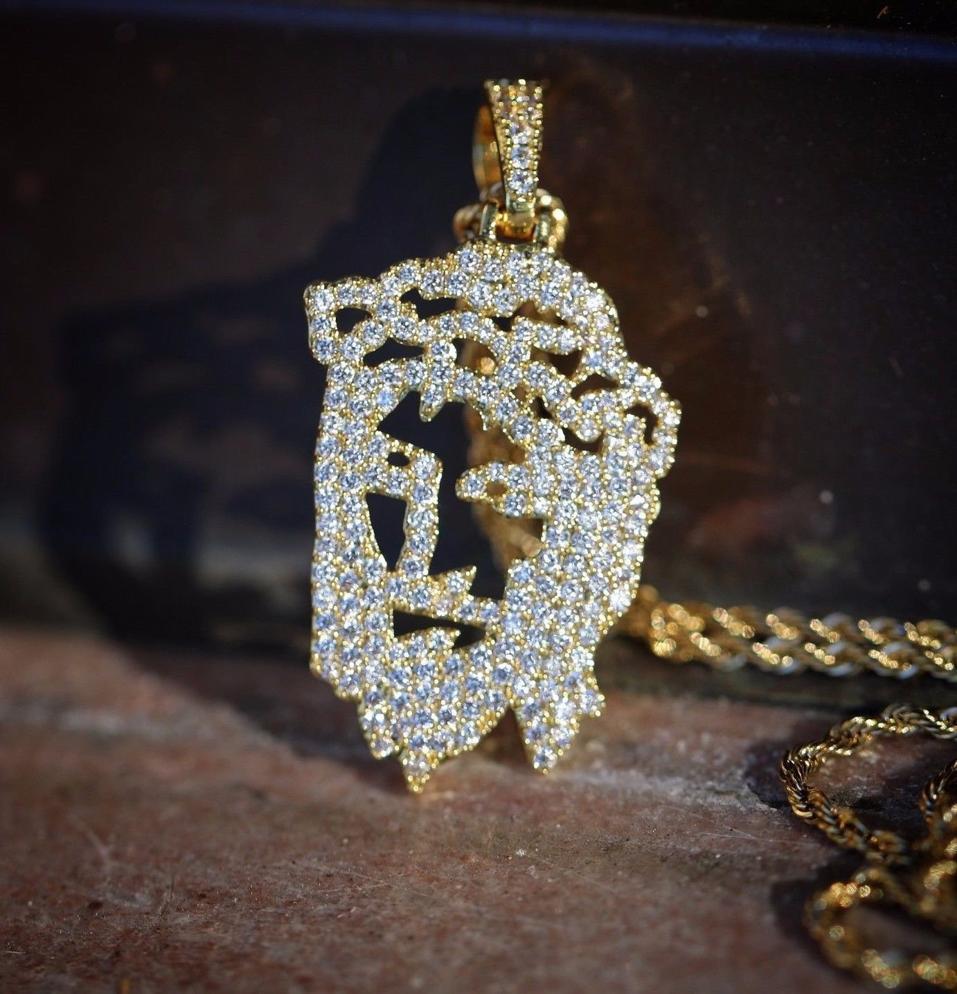 Men's 14k Gold Jesus Face Piece Pendant And Rope Chain Necklace Set