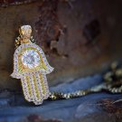 Small 18k Gold Hamsa Pendant With Lab Simulated Diamond Center Necklace