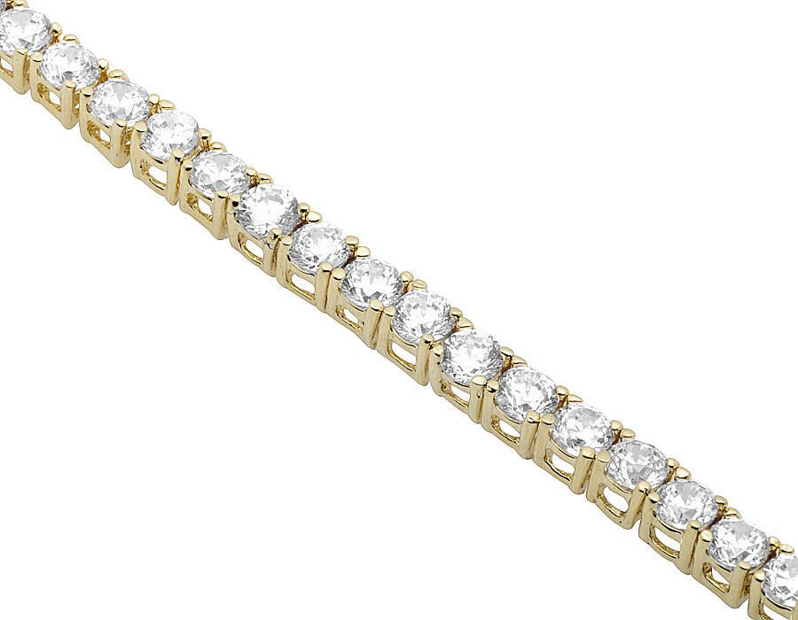 "Mens Gold Tennis Link Chain Necklace 18""-28"" 1 Row Solitaire Lab Diamond"