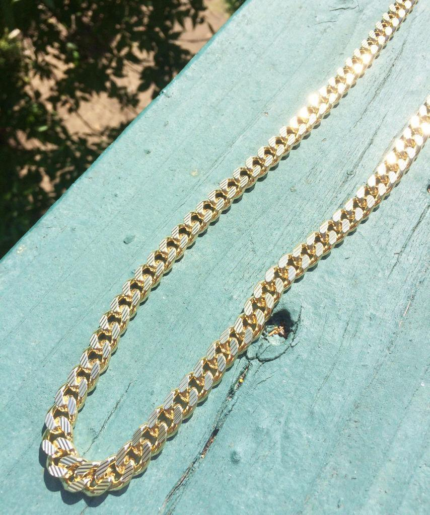 Hip Hop Gold Cuban Link Gold Chain Necklace With Diamond Cuts
