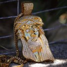 Big 18k Gold Jesus Piece Pendant With Franco Chain Necklace