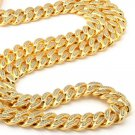 Miami Iced Out 14k Gold Cuban Link Chain With Diamonds