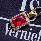 Men's Hip Hop Ruby Red Square Gem With Chain Necklace
