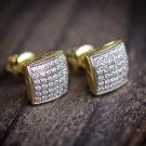 MEN 925 STERLING SILVER 8MM LAB DIAMOND ICED BLING 14k GOLD SQUARE STUD EARRING