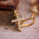 Mini Micro 18k Gold Cross Pendant And Stainless Steel Chain Necklace