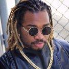 Mens Round Gold Frame Dark Black Reflective Hip Hop Sun Glasses