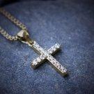 Lab Diamond Mini Micro Gold Cross Pendant With 24 Inch Box Chain