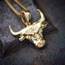 Mini 14k Gold Plated Bulls Pendant Necklace