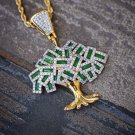 Hip Hop Green Money Tree Pendant With 18k Gold Plated  Rope Chain