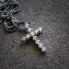 Hip Hop Cross Charm Pendant With 20 Inch White Gold Box Chain Necklace