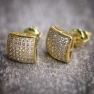 NEW MENS 14K YELLOW GOLD LAB DIAMOND SCREW BACK STUD EARRINGS