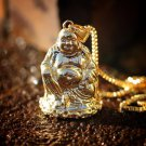 Gold Buddha Pendant With 22 Inch Box Chain Neckalce
