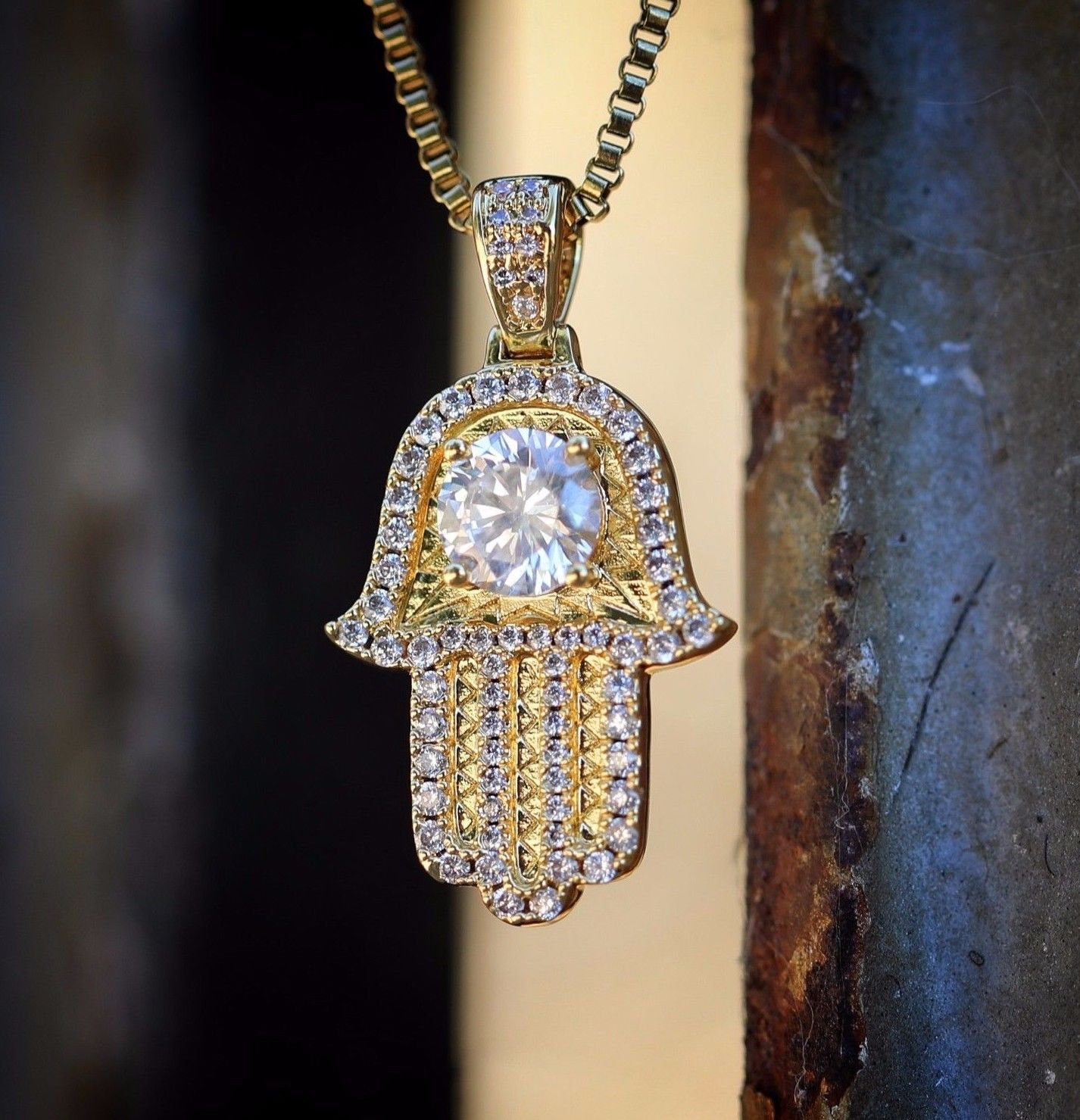 18k gold Mini Micro Small Hamsa Pendant Necklace