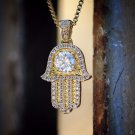 18k gold Mini Micro Small Hamsa Pendant Necklace