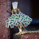 Iced Out Money Tree Pendant With Rope Chain Necklace