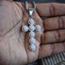 Men's Hip Hop Silver Diamond Crusted Cross Pendant Necklace