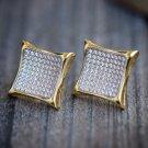 MEN'S NEW GOLD FINISH DIAMOND SIMULATE XL KITE SQUARE STUD EARRINGS 17MM