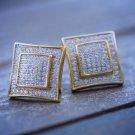 Gold Hip Hop Mens Square Shape Stud Earrings