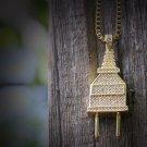Hip Hop Plug Pendant 14k Gold Iced Out Necklace
