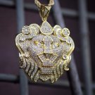 14k Gold Plated Lion Pendant Charm Rope Chain Necklace