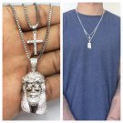 Mini Jesus Piece And Cross Pendant Chain Necklace Combo