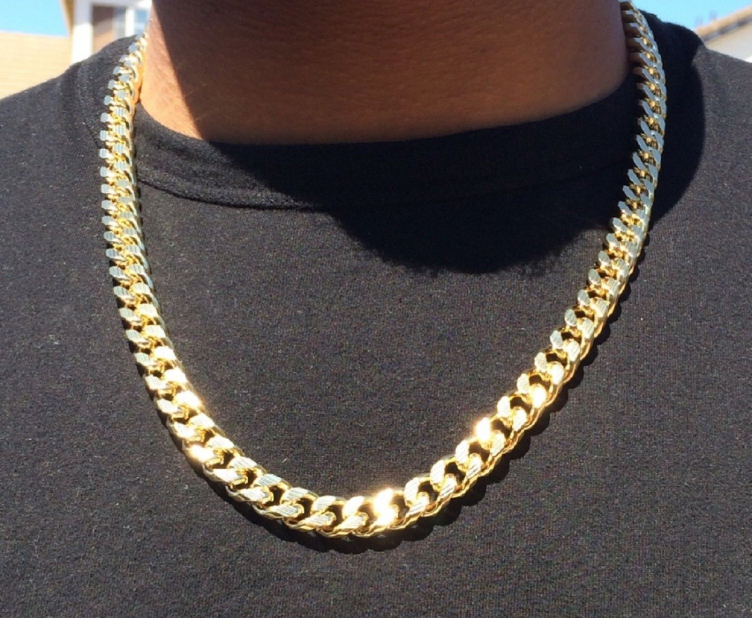"""14K Gold Plated Hip Hop Cuban Link Chain with Diamond Cuts 24"""""""