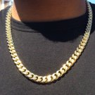 14K Gold Plated Hip Hop Cuban Link Chain with Diamond Cuts 24""