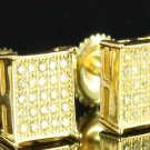 Mens Gold Canary Yellow Small Square Earring's
