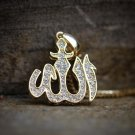 Mens Gold Iced Out Allah Sign Pendant Charm Necklace