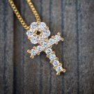 ICED OUT MEN'S GOLD MICRO EGYPTIAN ANKH PENDANT BOX CHAIN NECKLACE