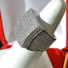 Lab Simulated 14K White Gold Hip Hop Style Micro Pave Square Iced Out Mens Ring