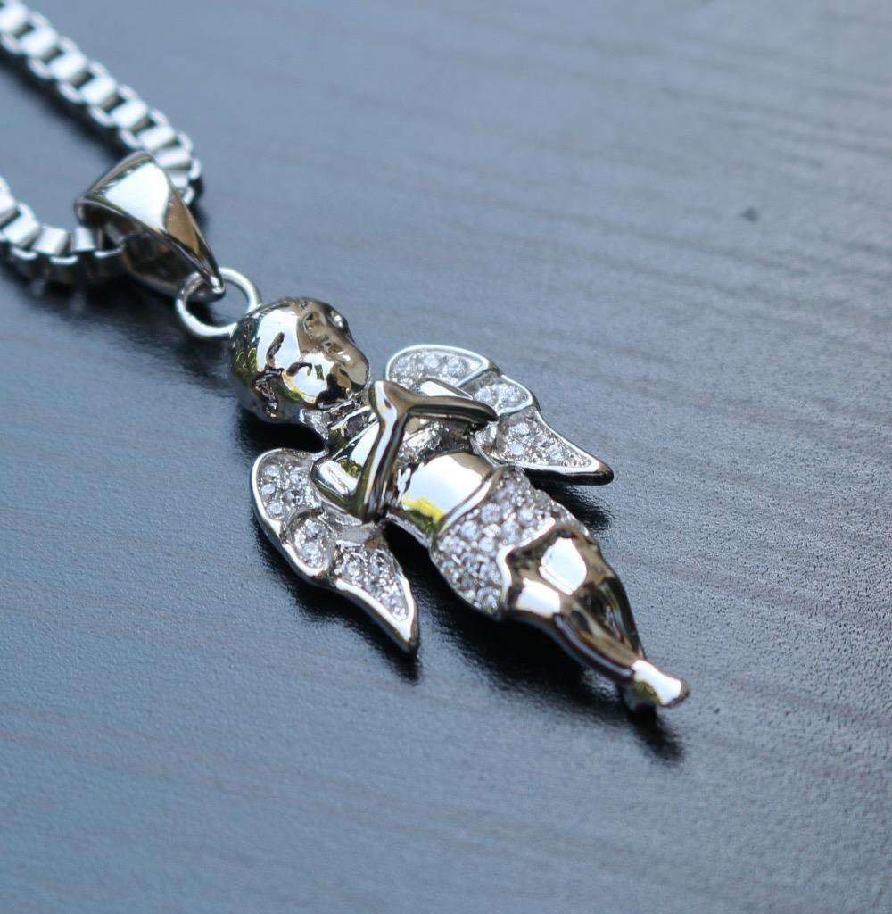 Hip Hop Angel Pendant Charm With White Gold Box Chain Necklace