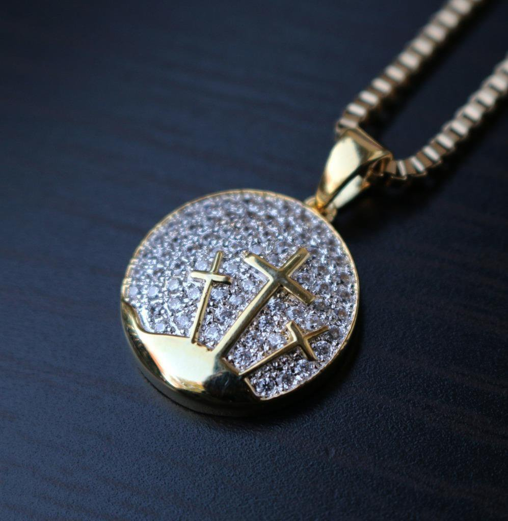 Men's Mini Gold Jesus Piece Iced Out Three Cross Pendant Necklace Set