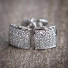 Men's Sterling Silver 925.Iced-Out 8mm Lab Diamond Square Earrings Unisex