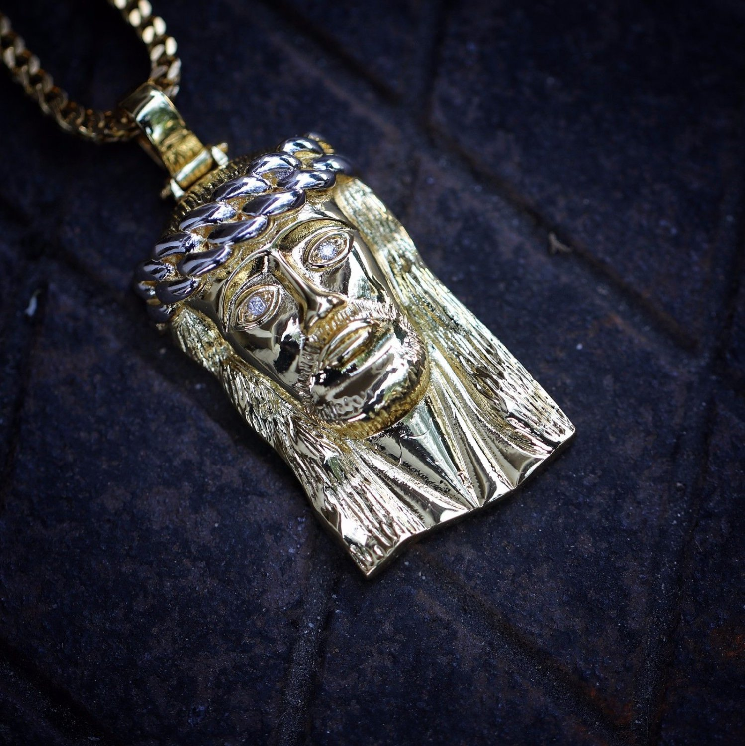18k Gold Jesus Piece Pendant Necklace And Franco Chain Set