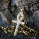 Mini Gold Egyptian Ankh Key Pendant Charm Necklace