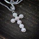 Mens White Gold Diamond Cross Pendant Necklace