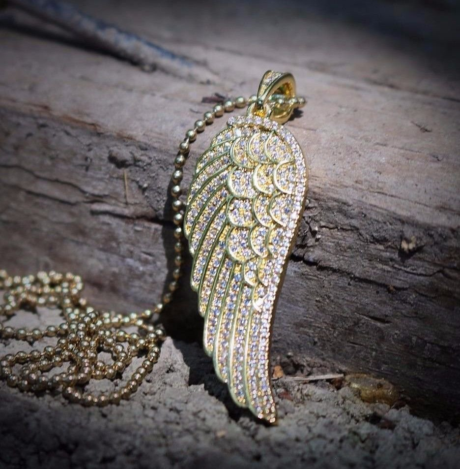 Gold Angel Wing Charm Necklace Set