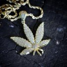 Men's Hip Hop Gold Marijuana Weed Leaf Pendant Necklace