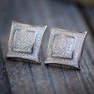 Mens 14k White Gold Finish RealSilver Square Kite Lab Diamond Earrings Studs
