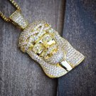 Iced Out 14K Small Mini Size Gold Jesus Piece Necklace Chain Combo Set