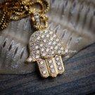 Hip Hop Gold Hamsa Hand Pendant Chain Necklace